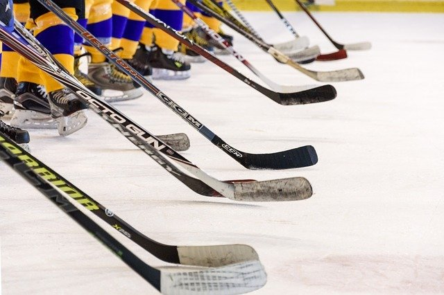 Ice hockey players holding hockey stick on the ice