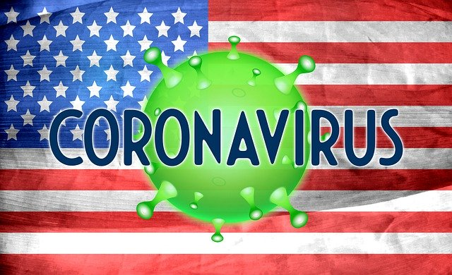 United states flag with the coronavirus symbol and coronavirus written