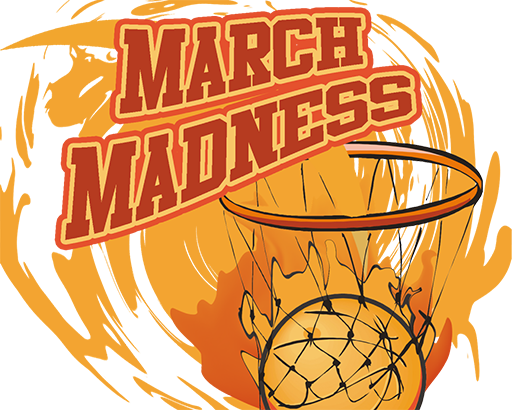 basketball in a basket with the march madness title