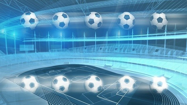 10 soccer ball with a soccer arena stadium background